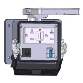 Panel Interface Connector with GFCI Duplex Outlet Outside and Simplex Outlet inside, form A USB to form A USB, and a 3amp reset, in a 32 housing