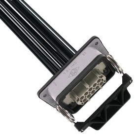 Pre-wired Female Rectangular Receptacles, 10 Pole, Single Latch, 16 awg, 2M, Squich Spring