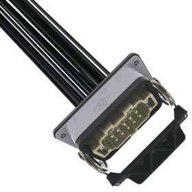 Pre-wired Male Rectangular Receptacles, 10 Pole, Single Latch, 14 awg, 2M, Squich Spring