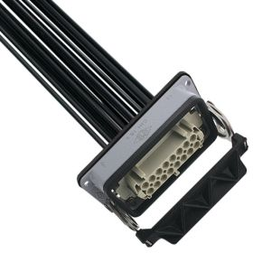 Pre-wired Female Rectangular Receptacles, 16 Pole, Single Latch, 16 awg, 2M, Squich Spring