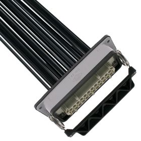 Pre-wired Female Rectangular Receptacles, 24 Pole, Single Latch, 14 awg, 2M, Squich Spring