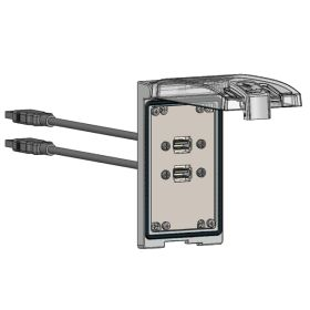 Low Profile Panel Interface Connector with (2) form A USB with 10' Cable, in a Single Cover Housing