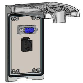 Low Profile Panel Interface Connector with DB9, RJ45, in a Single Cover Housing