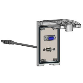 Low Profile Panel Interface Connector with DB9, form A USB with 10' Cable, in a Single Cover Housing