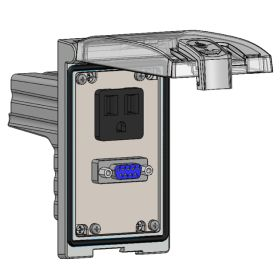 Low Profile Panel Interface Connector with Simplex outlet, DB9 in a Single Cover Housing