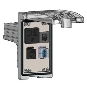 Low Profile Panel Interface Connector with Simplex outlet, RJ45, USB-AFAF in a Single Cover Housing