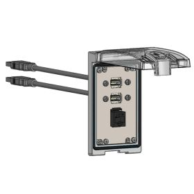Low Profile Panel Interface Connector with RJ45, (2) form A USB with 10' Cable in a Single Cover Housing