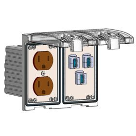 Low Profile Panel Interface Connector with Duplex outlet, (3) USB-AFAF in a Two-Single Cover Housing