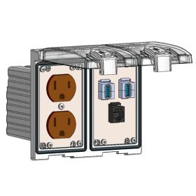 Low Profile Panel Interface Connector with Duplex outlet, RJ45, (2) USB-AFAF in a Two-Single Cover Housing
