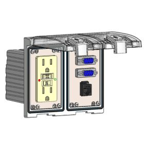 Low Profile Panel Interface Connector with GFCI outlet, (2) DB9, RJ45 in a Two-Single Cover Housing