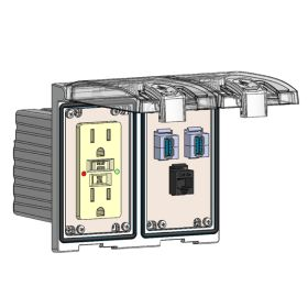 Low Profile Panel Interface Connector with GFCI outlet, RJ45, (2) USB-AFAF in a Two-Single Cover Housing