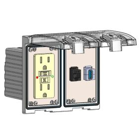 Low Profile Panel Interface Connector with GFCI outlet, RJ45, USB-AFAF in a Two-Single Cover Housing