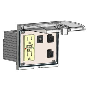 Low Profile Panel Interface Connector with GFCI Duplex outlet, 2 x RJ45, and a 5amp reset, in a Double Cover Housing