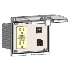 Low Profile Panel Interface Connector with GFCI outlet, RJ45, a 15amp reset in a Double Cover Housing
