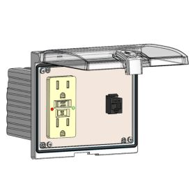 Low Profile Panel Interface Connector with GFCI outlet, RJ45 in a Double Cover Housing