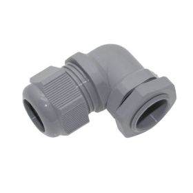 PG9, Plastic Right Angle Cable Glands, Gray, 0.117 - 0.273