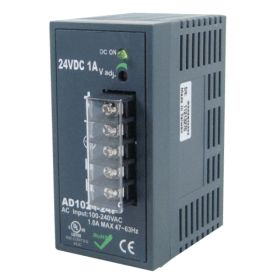 24W/1A DIN-Rail 24VDC power supply with universal 100~240VAC / 120~370VDC input, Plastic Housing
