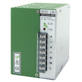 120W/2.5A DIN-Rail 48VDC power supply with universal 100~240VAC / 120~370VDC input, Metal Housing