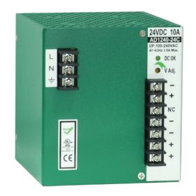 240W/4.4A DIN-Rail 55VDC power supply with universal 100~240VAC / 120~370VDC input, Metal Housing