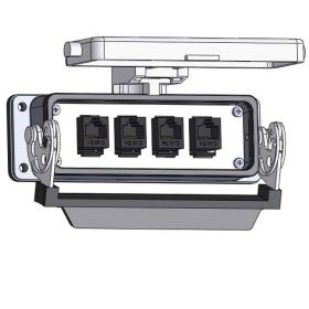 Panel Interface Connector with, (4) RJ45, in a 24LS housing