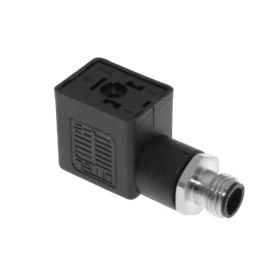 Solenoid Valve Connectors, Receptacle, 3 Pole, Form B 10mm, with 5 Pole M12 Male Straight, 250V, 4A, ground oppostie