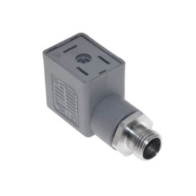 Solenoid Valve Connectors, Receptacle, 3 Pole, ISB 11mm, with 5 Pole M12 Male Straight, 250V, 4A, Gray Housing