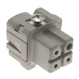 Standard, CK series, Female Rectangular Insert, size 21.21, 4 pin, 10 amp, Screw