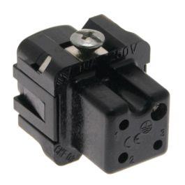 Standard, CK series, Female Rectangular Insert, size 21.21, 4 pin, 10 amp, Screw, Black