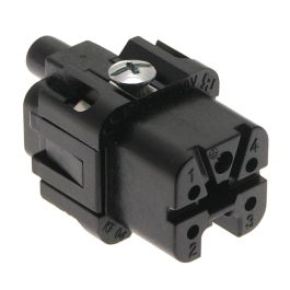 Standard, CK series, Female Rectangular Insert, size 21.21, 5 pin, 10 amp, Screw, Black