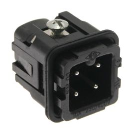 Standard, CK series, Male Rectangular Insert, size 21.21, 4 pin, 10 amp, Screw, Black
