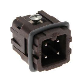 High-Temp, CK series, Male Rectangular Insert, size 21.21, 4 pin, 10 amp, Screw