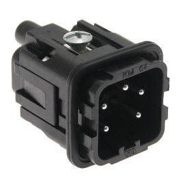 Standard, CK series, Male Rectangular Insert, size 21.21, 5 pin, 10 amp, Screw, Black