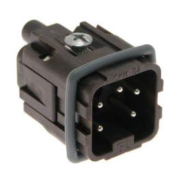 High-Temp, CK series, Male Rectangular Insert, size 21.21, 5 pin, 10 amp, Screw