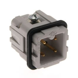 Standard, CK series, Male Rectangular Insert, size 21.21, 4 pin, 10 amp, Screw, Gold Plated Contacts
