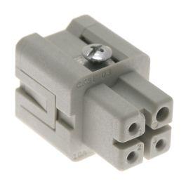 Standard, CKS series, Female Rectangular Insert, size 21.21, 4 pin, 10 amp, Standard Spring