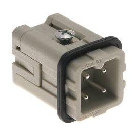 Standard, CKS series, Male Rectangular Insert, size 21.21, 4 pin, 10 amp, Standard Spring