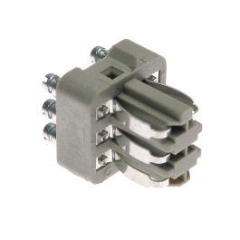 Standard, CNS series, Male Rectangular Insert, size 21.21, 6 pin, 10 amp, Leaf Spring