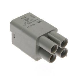 Standard, CQ series, Female Rectangular Insert, size 21.21, 3 pin, 40 amp, Crimp