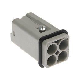 Standard, CQ series, Male Rectangular Insert, size 21.21, 3 pin, 40 amp, Crimp