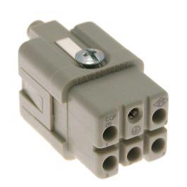 Standard, CQ series, Female Rectangular Insert, size 21.21, 5 pin, 16 amp, Crimp