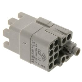 Standard, CQ series, Female Rectangular Insert, size 21.21, 12 pin, 10 amp, Crimp