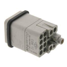 Standard, CQ series, Male Rectangular Insert, size 21.21, 12 pin, 10 amp, Crimp