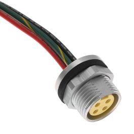 MIN Size I, Receptacle, 3 Pole, Female Straight, 3 Ft, 16awg, 10A, Back Mount, Aluminum Clear Anodized