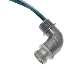 MIN Size I, Receptacle, 3 Pole, Female Right Angle, 3 Ft, 18awg, 10A, .5-NPT, Front Mount, Aluminum Clear Anodized