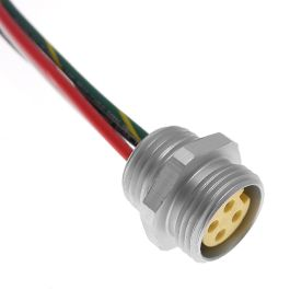 MIN Size I, Receptacle, 3 Pole, Female Straight, 3 Ft, 16awg, 13A, .5-NPT, Front Mount, Aluminum Clear Anodized