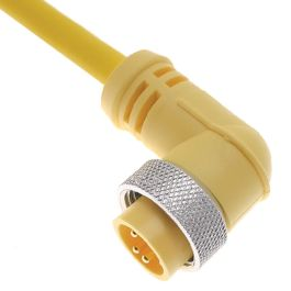 MIN Size I, Cordset, 3 Pole, Male Right Angle, 20 Ft, 10A, Yellow, PVC