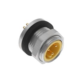 MIN Size I, Receptacle, 4 Pole, Male Straight, PCB, 10A, .5-NPT, Back Mount, Aluminum Clear Anodized