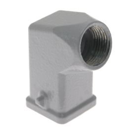 Standard, Angled Rectangular Hood, size 21.21, 2 Pegs, Side M20 cable entry