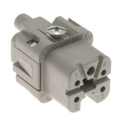 Standard, CK series, Female Rectangular Insert, size 21.21, 5 pin, 10 amp, Screw, Silver Plated Contacts