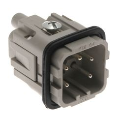 Standard, CK series, Male Rectangular Insert, size 21.21, 5 pin, 10 amp, Screw, Silver Plated Contacts